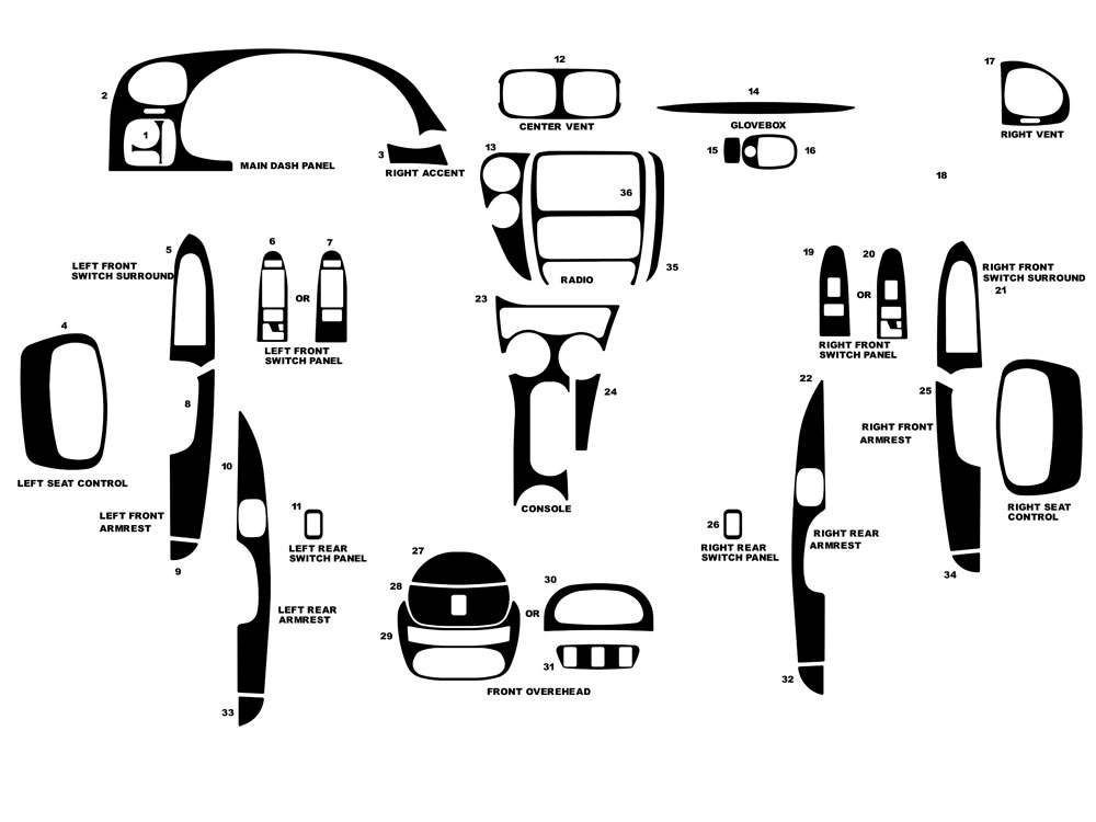 Chevrolet Trailblazer 2002-2005 Dash Kit Diagram