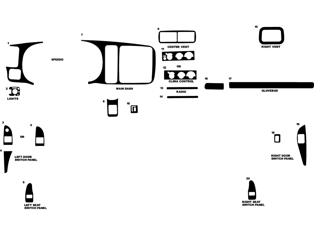 GMC Savana 1997-2002 Dash Kit Diagram