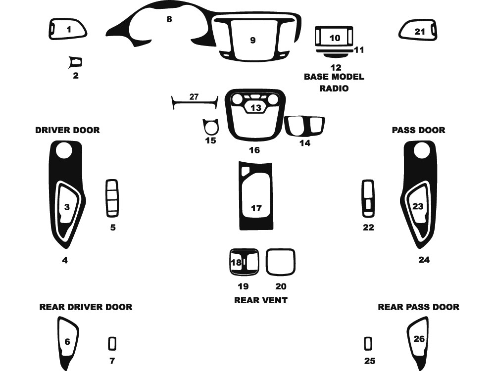 Chrysler 200 2015-2016 Dash Kit Diagram