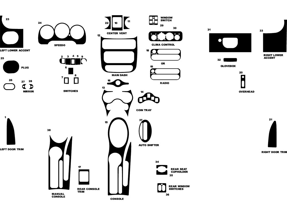Chrysler PT Cruiser 2001-2005 Dash Kit Diagram