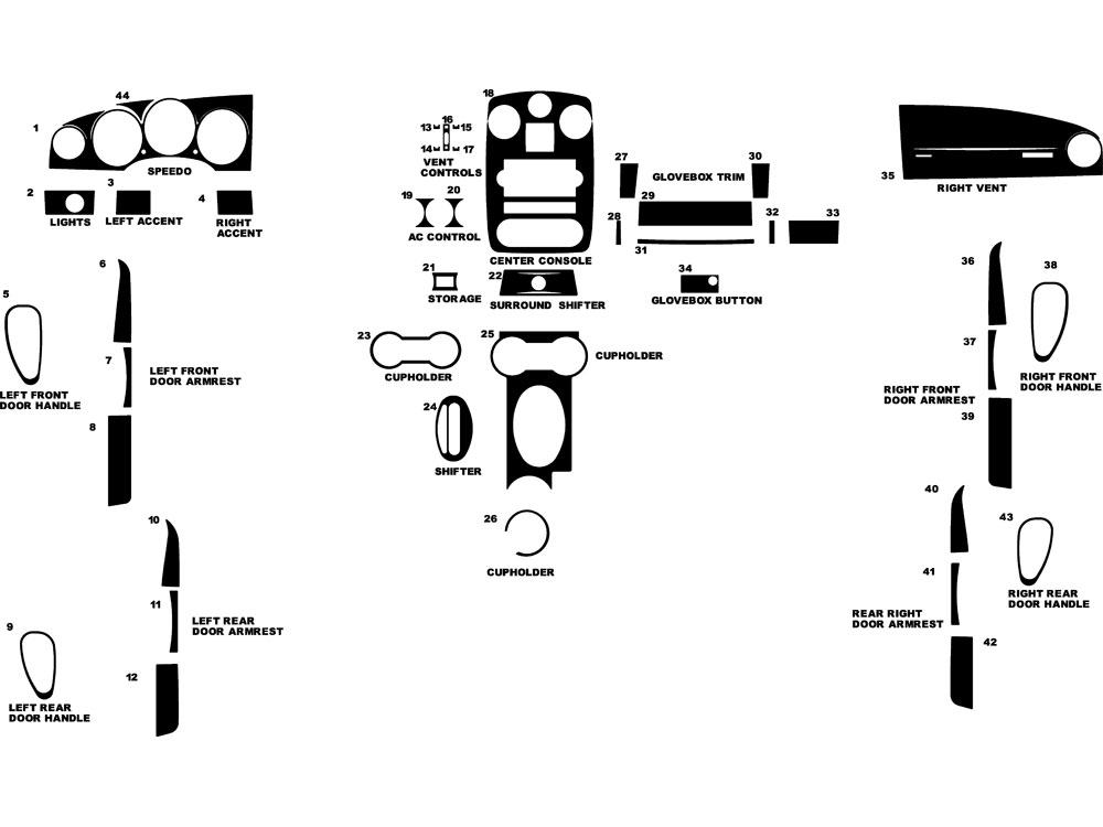 Chrysler PT Cruiser 2006-2010 Dash Kit Diagram