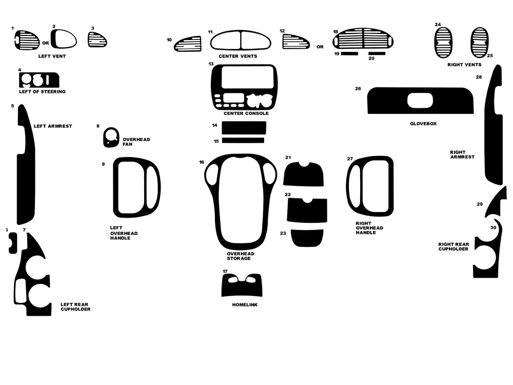 Dodge Grand Caravan 1996-2000 Dash Kit Diagram