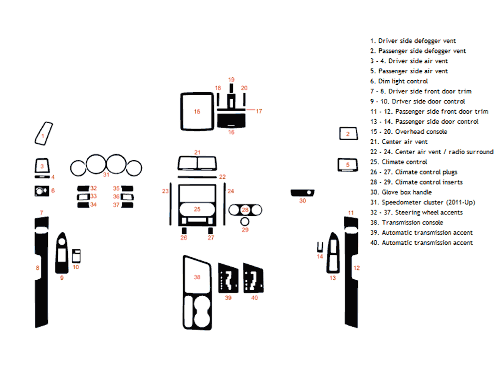 Dodge Challenger 2008-2015 Dash Kit Diagram