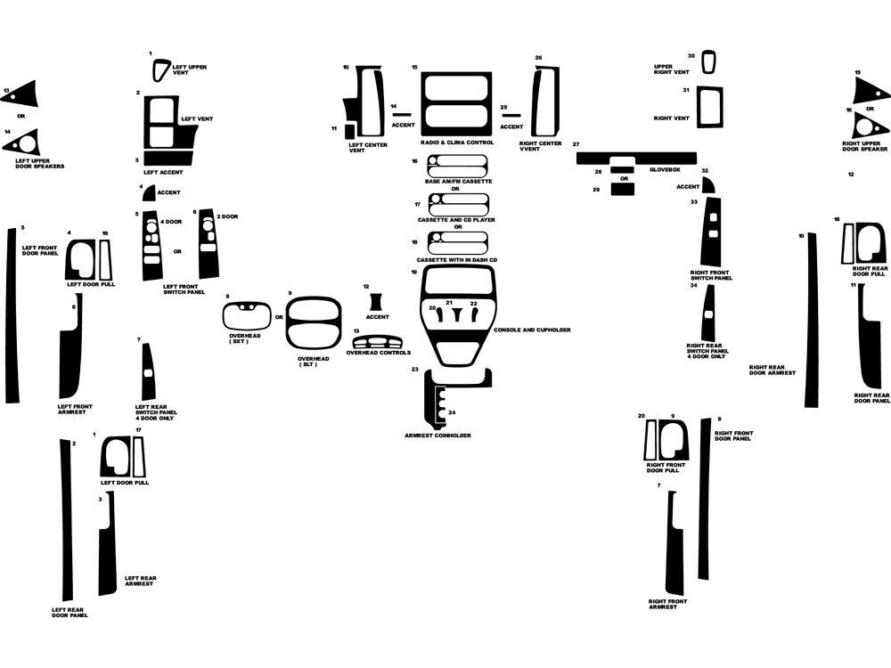 Dodge Dakota 2001-2004 Dash Kit Diagram