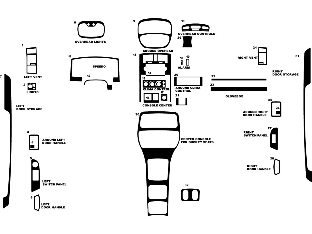 Dodge Dakota Club Cab 2005-2007 Dash Kit Diagram