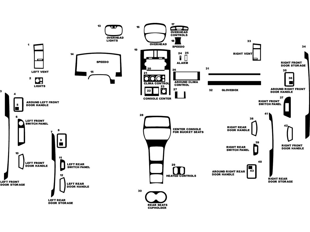 Dodge Dakota Quad Cab W/ Bucket Seats 2005-2007 Dash Kit Diagram