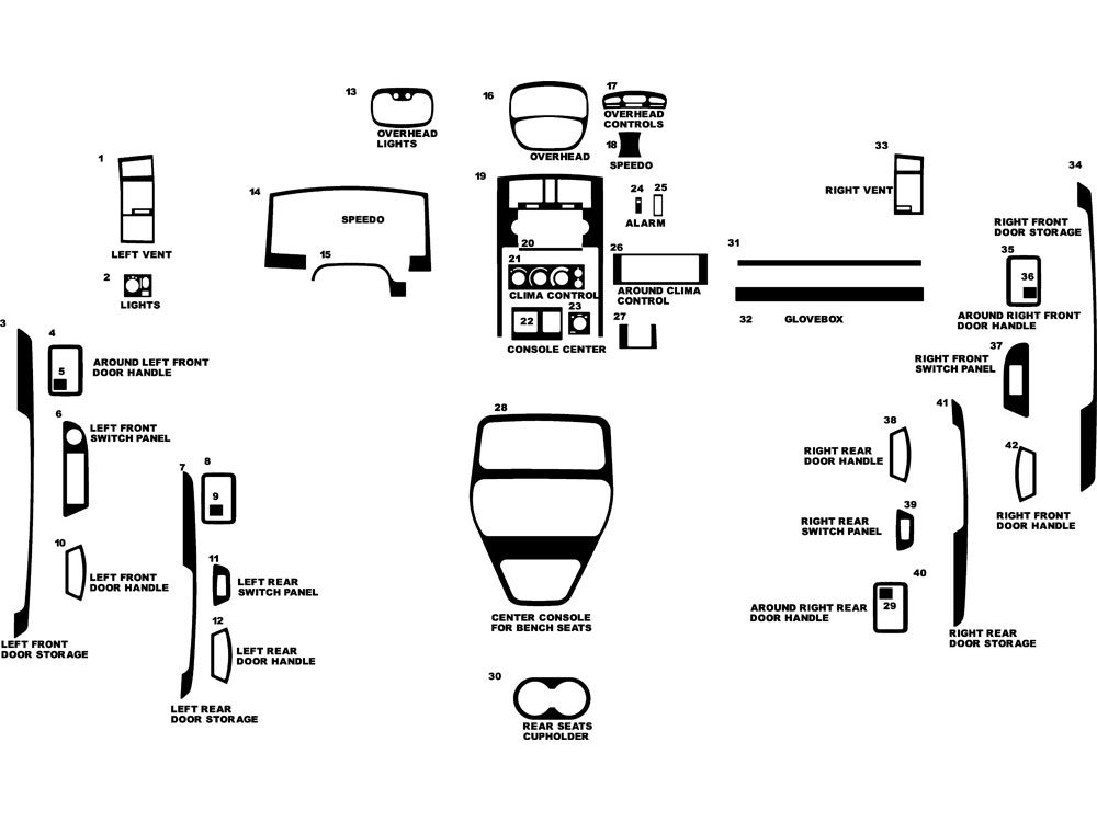 Dodge Dakota Quad Cab W/ Bench Seats 2005-2007 Dash Kit Diagram