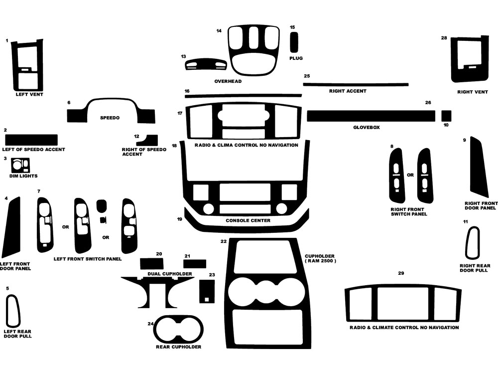 Dodge Ram 1500 2006-2008 Dash Kit Diagram