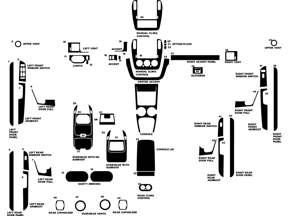 Mercury Mountaineer 2002-2005 Dash Kit Diagram