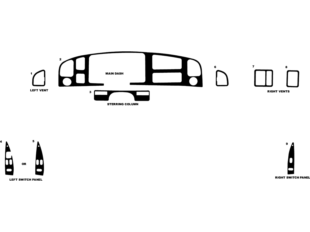 Ford E-150 1992-1997 Dash Kit Diagram