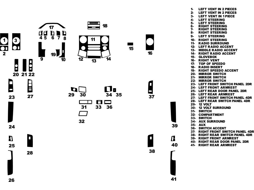 Ford F-250 2011-2015 Dash Kit Diagram