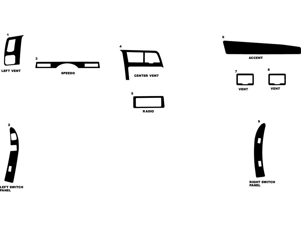 Ford Ranger 1990-1994 Dash Kit Diagram