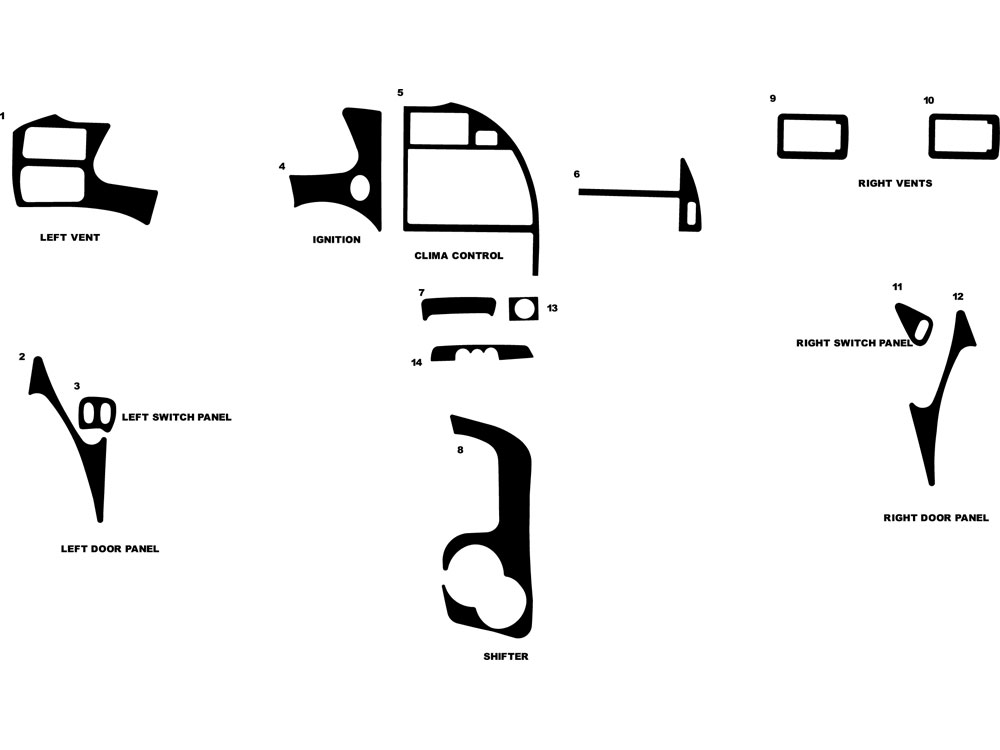Ford Thunderbird 1997 Dash Kit Diagram