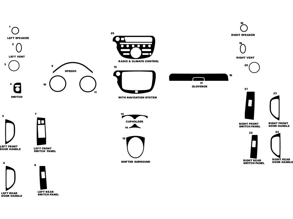 Honda Fit 2009-2014 Dash Kit Diagram