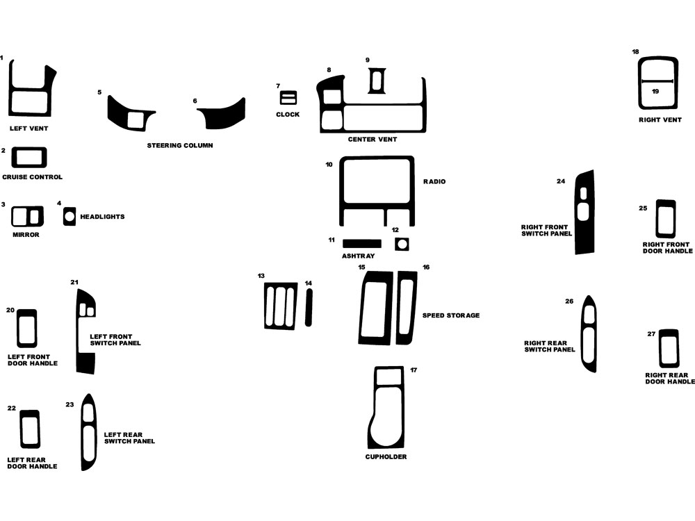Isuzu Rodeo 1998-2002 Dash Kit Diagram