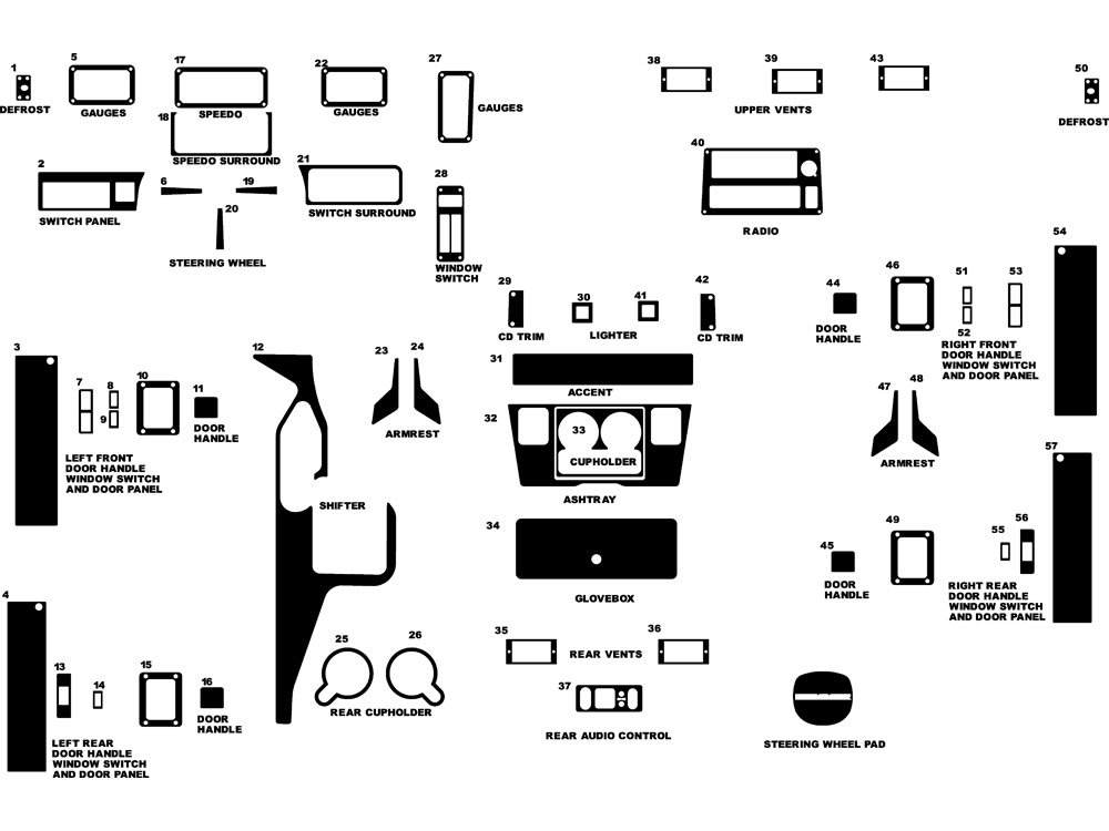 Hummer H1 2001-2002 Dash Kit Diagram