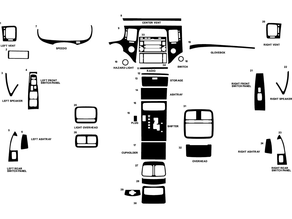 Hyundai Azera 2006-2011 Dash Kit Diagram