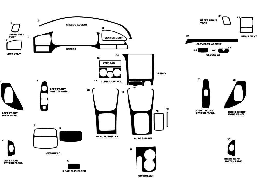 Hyundai Elantra 2001-2003 Dash Kit Diagram