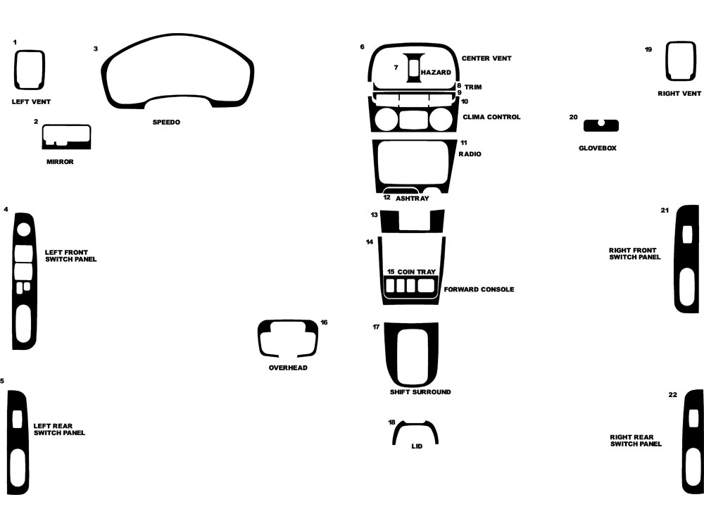 Hyundai Sonata 1999-2001 Dash Kit Diagram