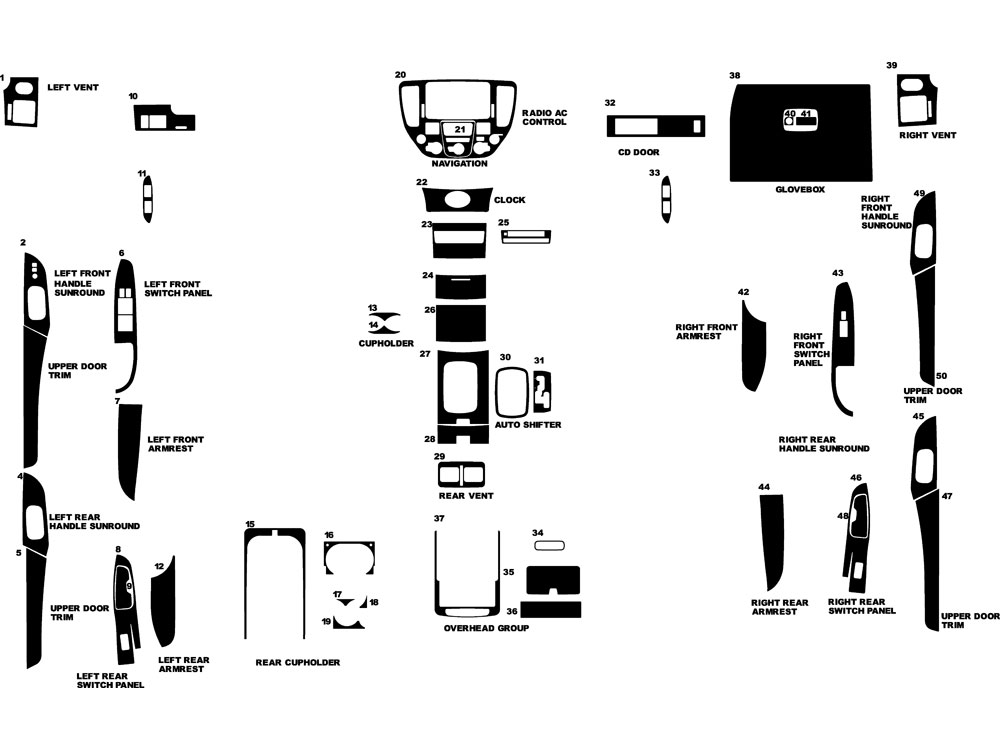 Infiniti M45 2003-2004 Dash Kit Diagram
