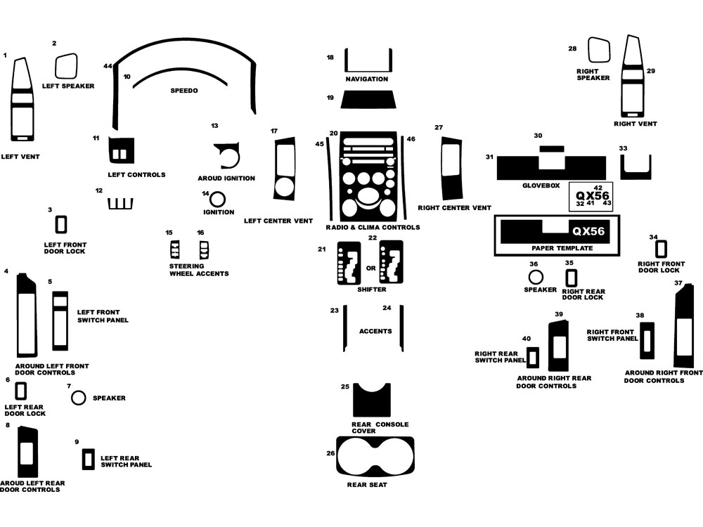 Infiniti QX56 2004-2007 Dash Kit Diagram