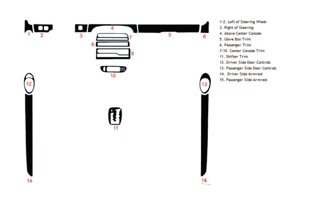 Jaguar XK-Type 2000-2006 Dash Kit Diagram