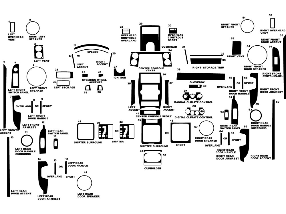 Jeep Commander 2008-2010 Dash Kit Diagram