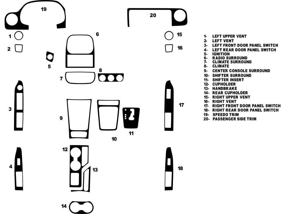 Jeep Patriot 2009-2015 Dash Kit Diagram