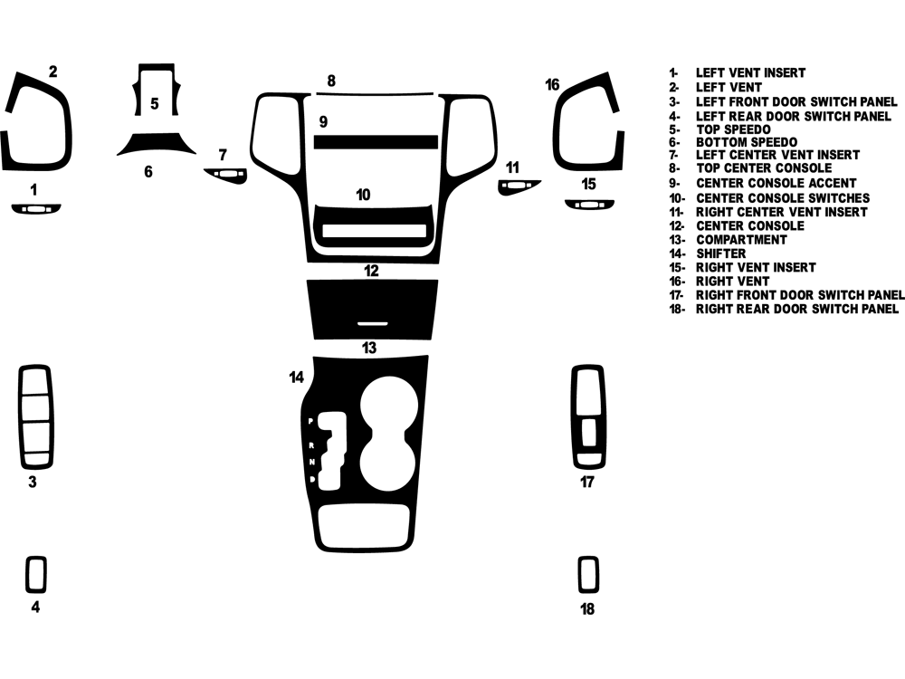 Jeep Grand Cherokee 2011-2014 Dash Kit Diagram