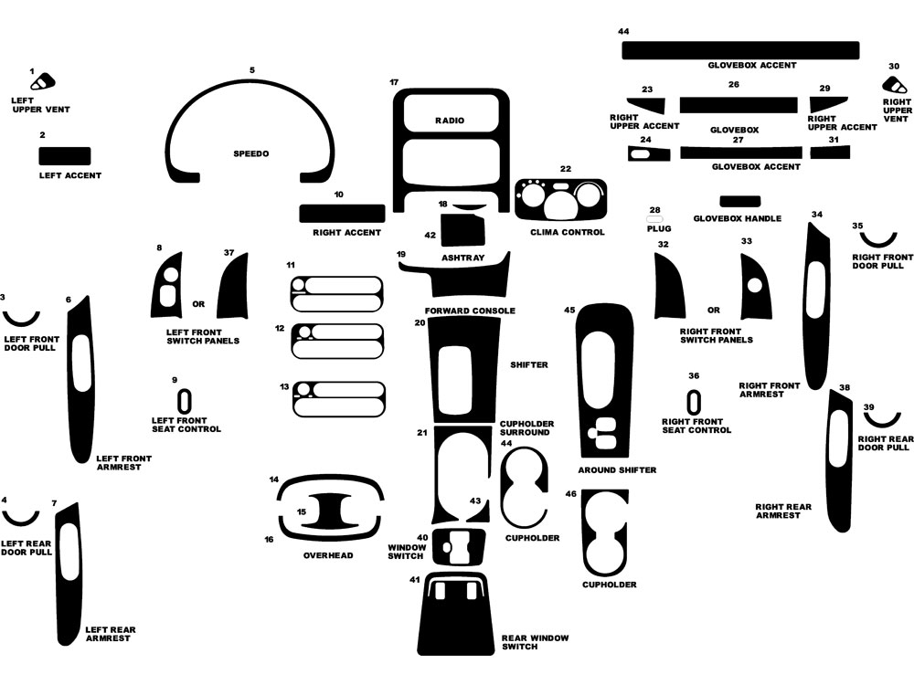 Jeep Liberty 2002-2007 Dash Kit Diagram