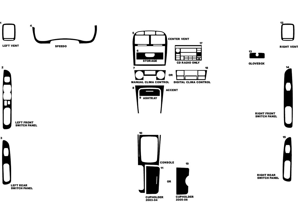 Kia Optima 2003-2006 Dash Kit Diagram