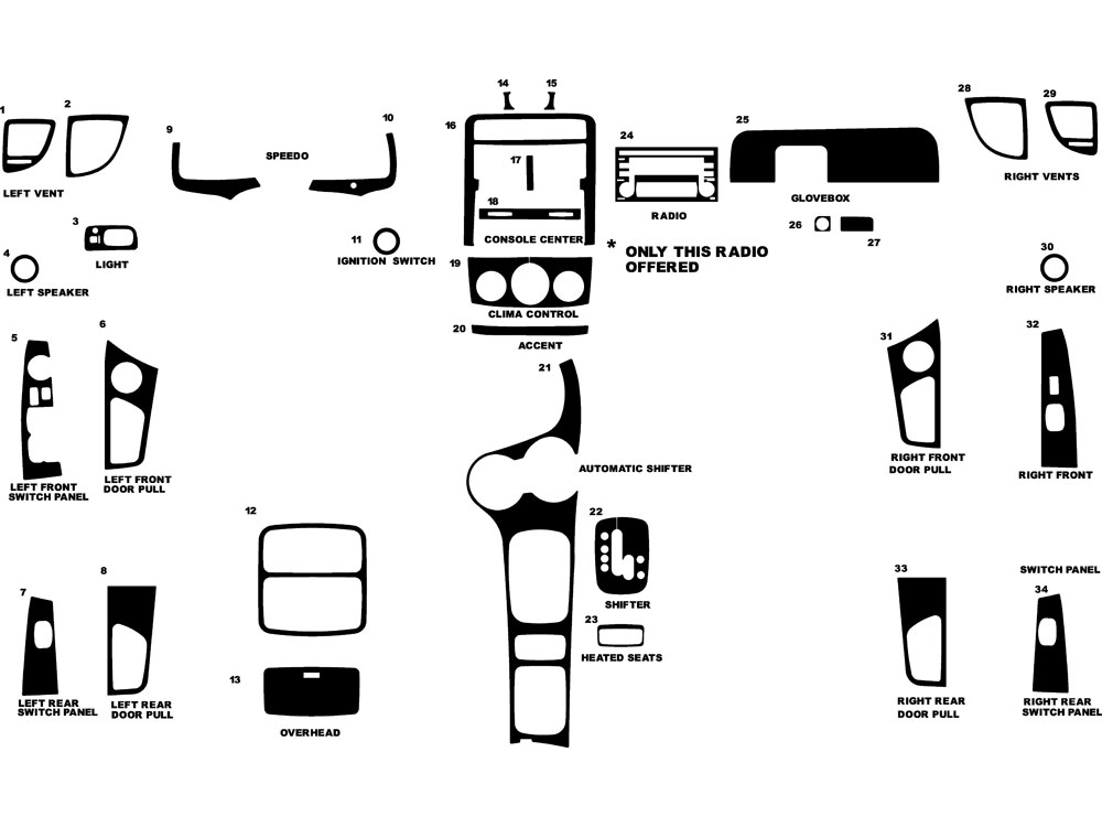 Kia Sportage 2005-2008 Dash Kit Diagram