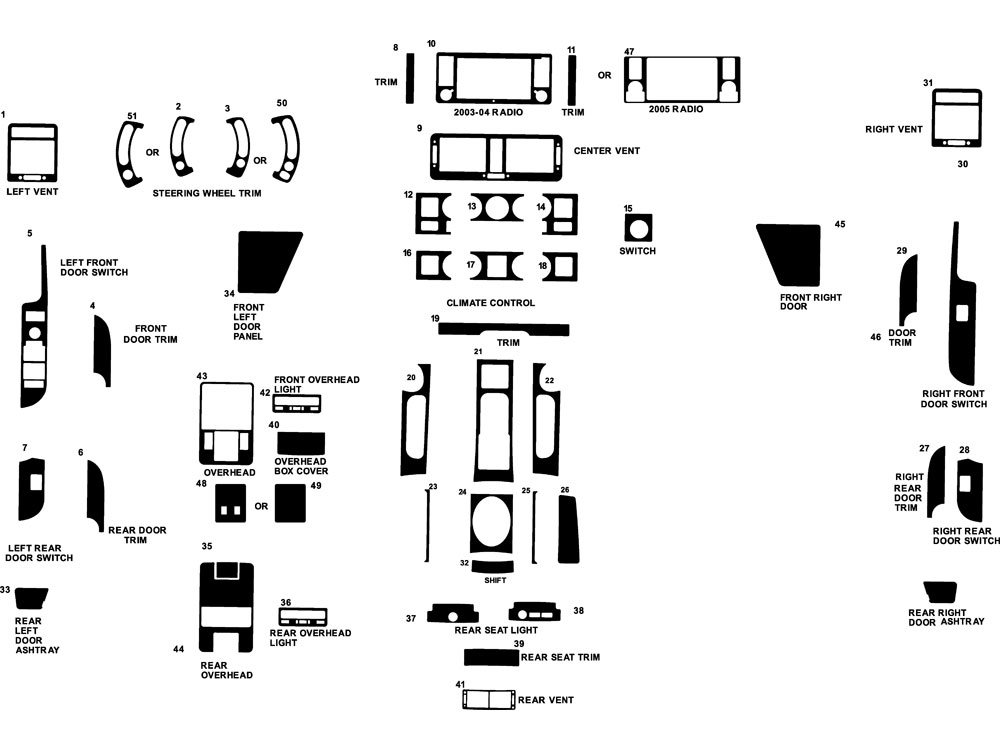 Land Rover Range Rover 2003-2006 Dash Kit Diagram