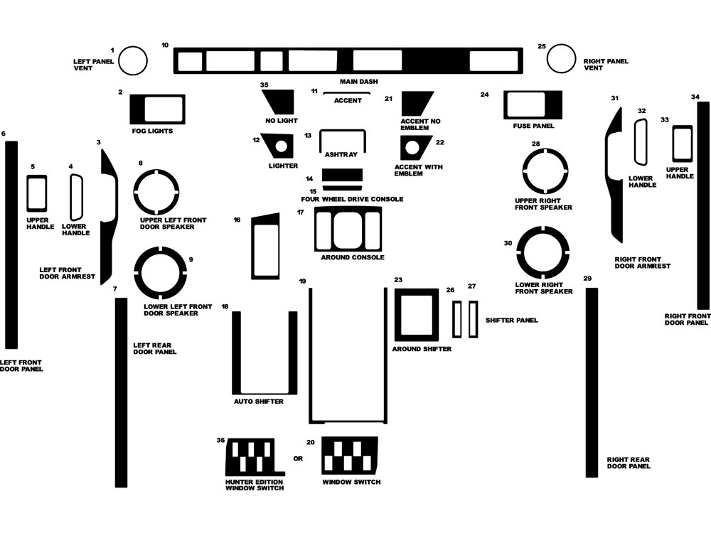 Land Rover Range Rover 1989-1993 Dash Kit Diagram