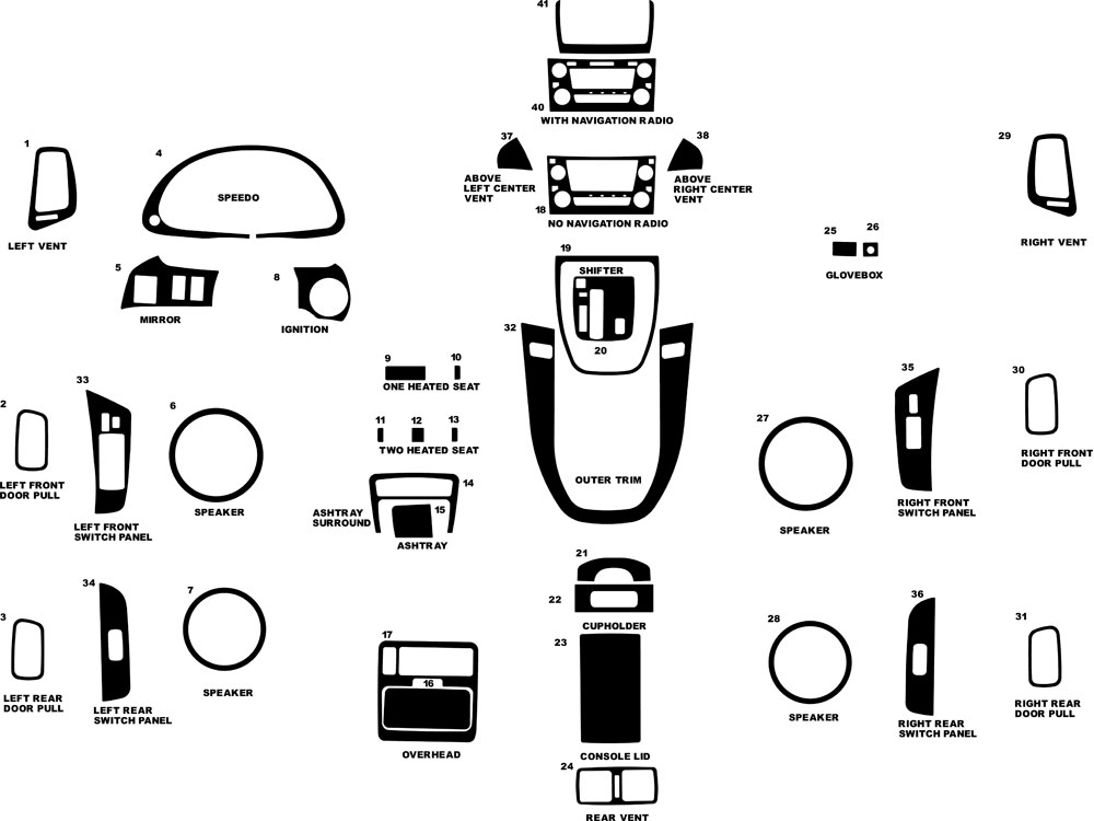 Lexus RX 1999-2003 Dash Kit Diagram