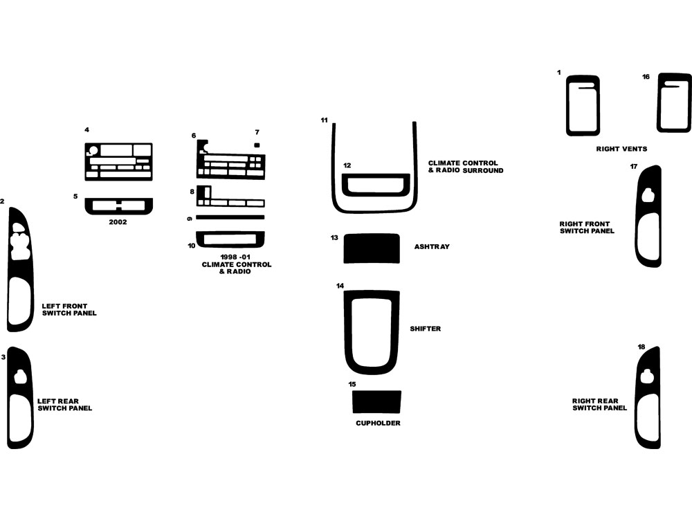 Lincoln Continental 1998-2002 Dash Kit Diagram