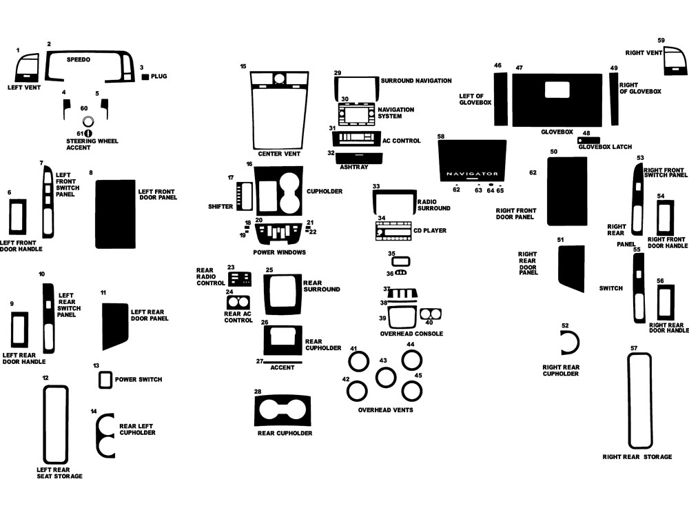 Lincoln Navigator 2003-2004 Dash Kit Diagram