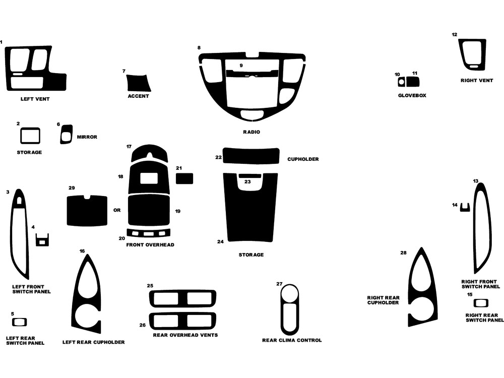 Mazda MPV 2000-2006 Dash Kit Diagram