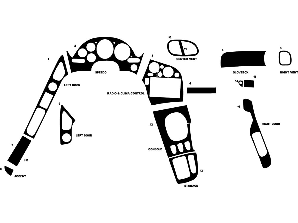 Mazda RX-7 1993-1996 Dash Kit Diagram