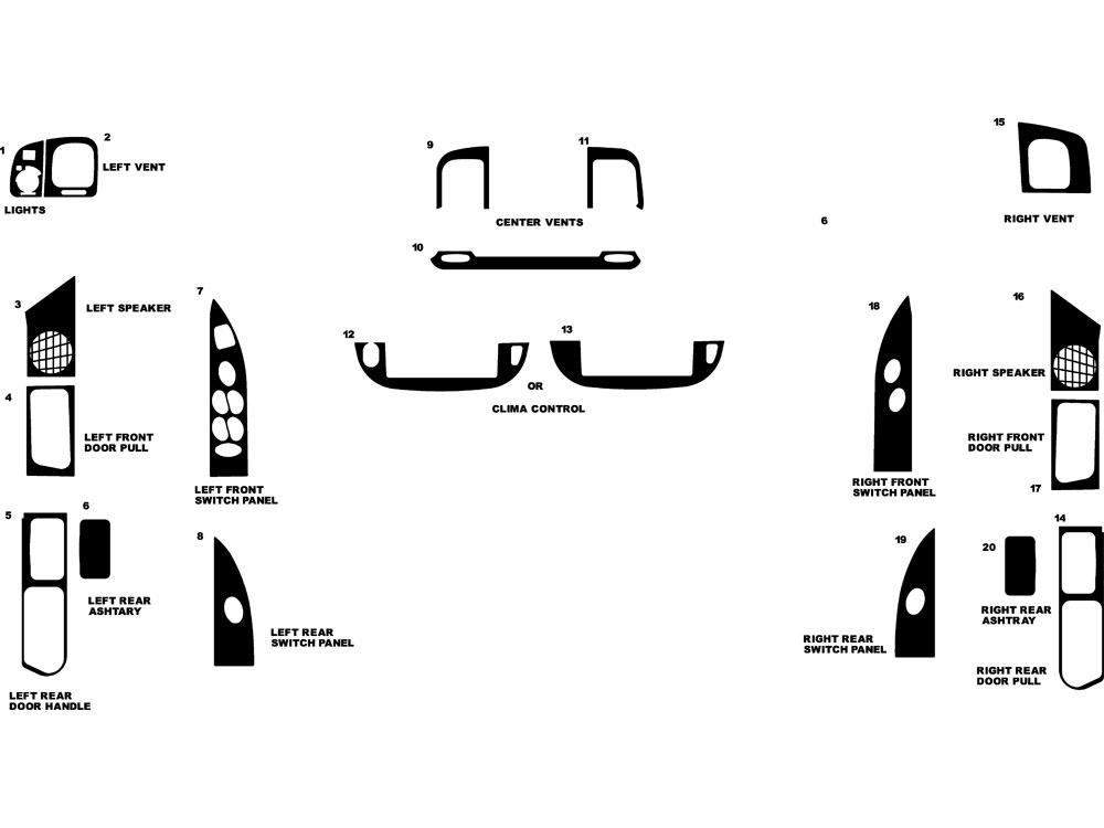 1998 Mercury Grand Marquis Dash Kits
