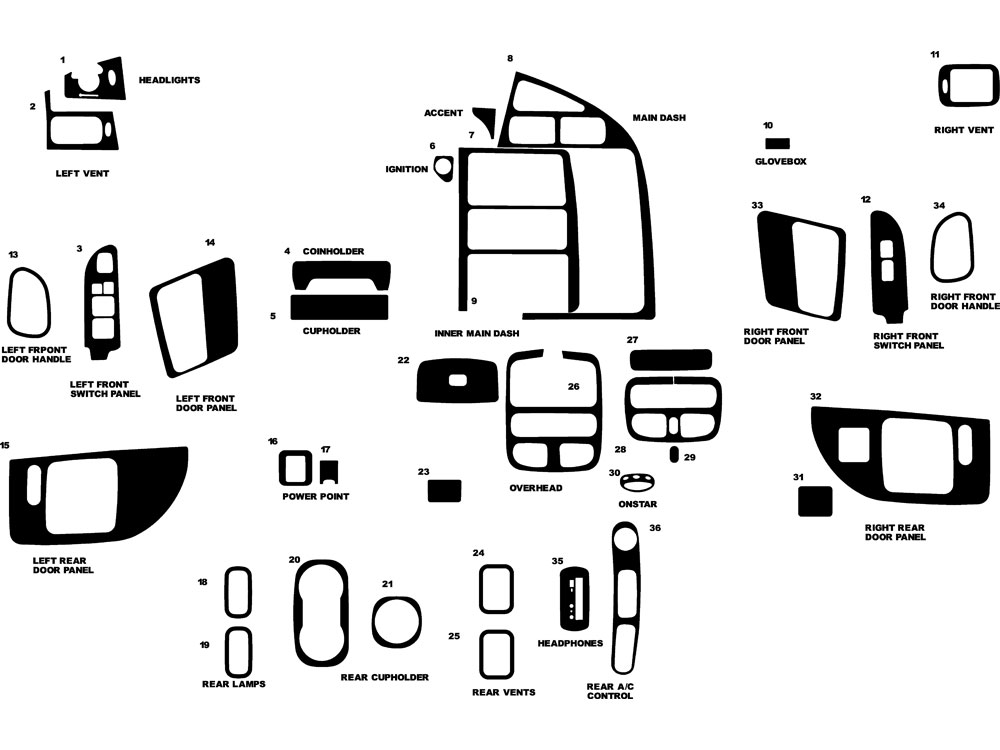 Mercury Villager 1999-2003 Dash Kit Diagram