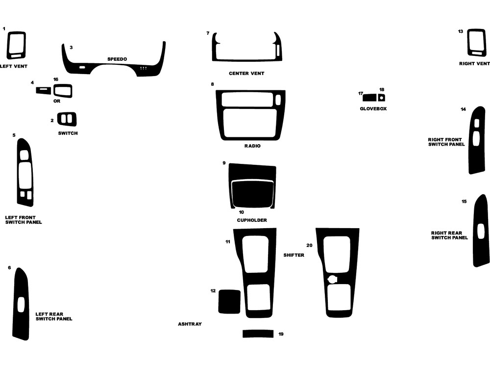 Mitsubishi Diamante 2000-2003 Dash Kit Diagram