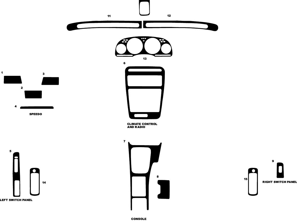 Nissan 300ZX 1990-1996 Dash Kit Diagram