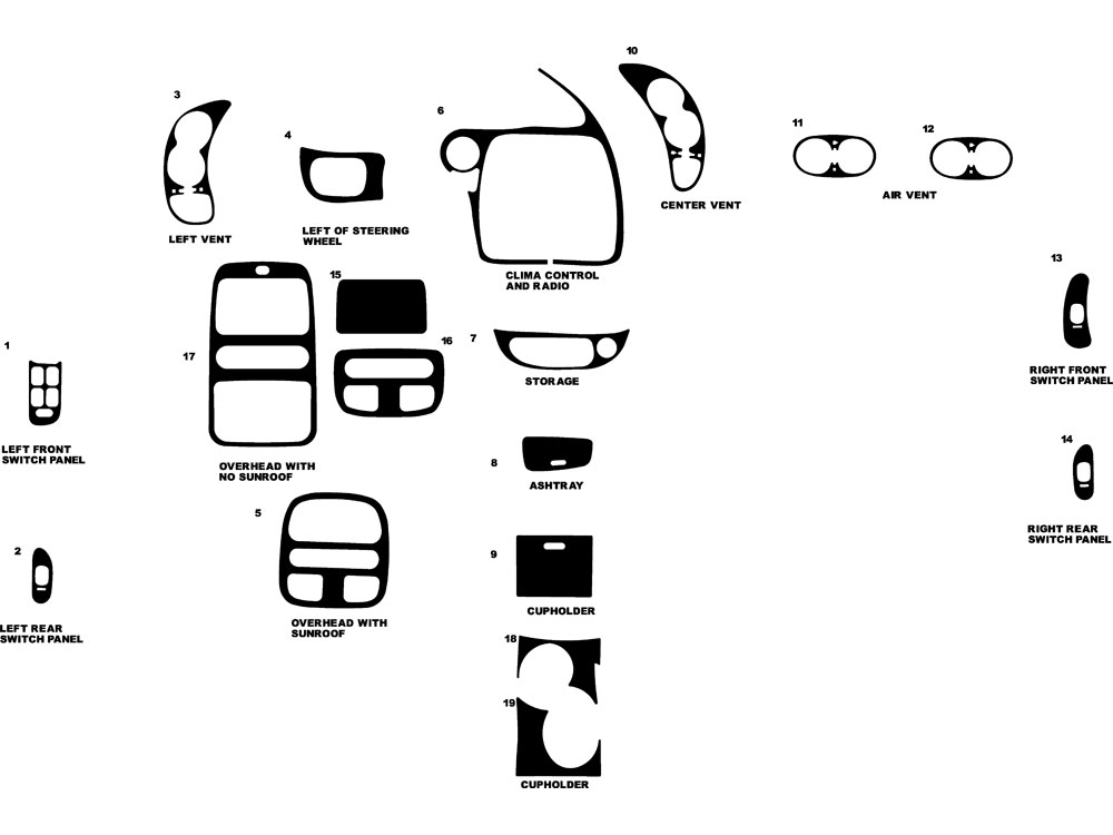 Pontiac Bonneville 2000-2005 Dash Kit Diagram