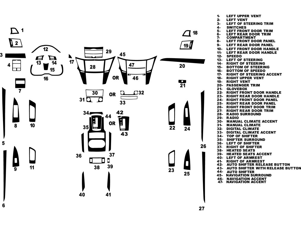 Subaru Legacy 2010-2014 Dash Kit Diagram