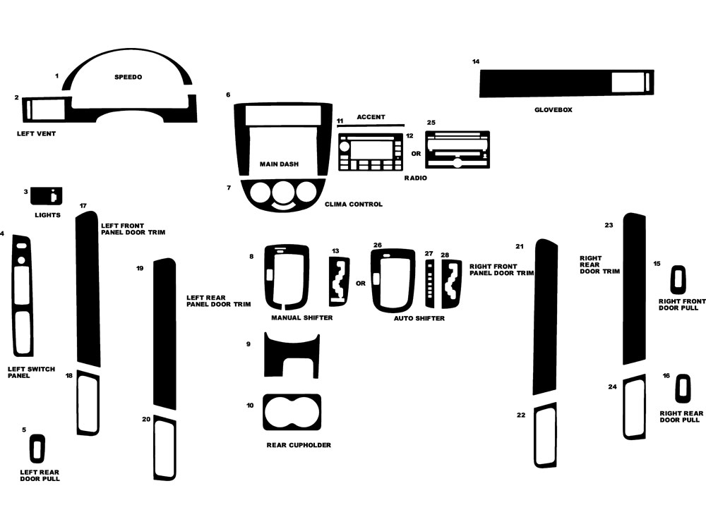 Suzuki Forenza 2004-2008 Dash Kit Diagram
