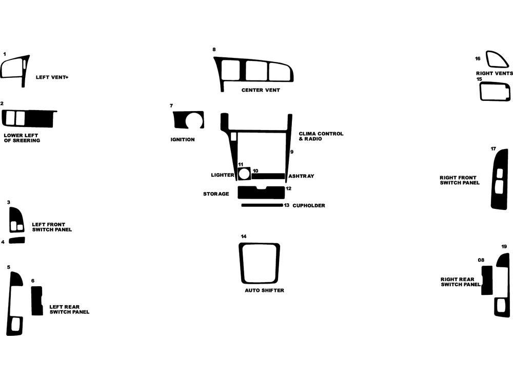 Toyota Cressida 1989-1994 Dash Kit Diagram