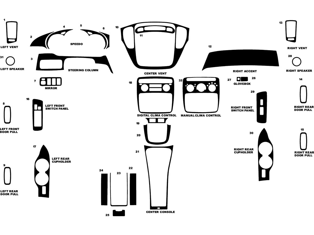 Toyota Highlander 2001-2007 Dash Kit Diagram