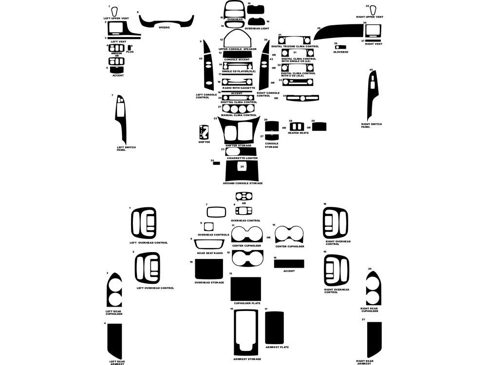 Toyota Sienna 2004-2010 Dash Kit Diagram