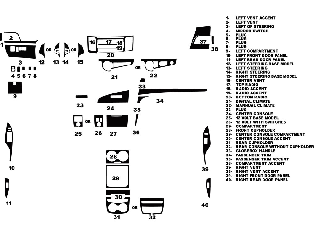 Toyota Sienna 2011-2014 Dash Kit Diagram